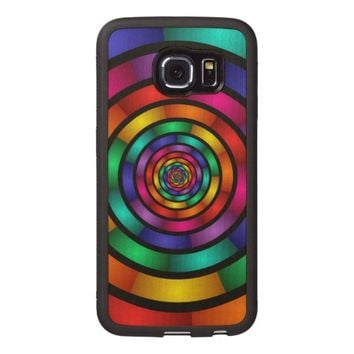 Round and Psychedelic Colorful Modern Fractal Art Wood Phone Case