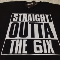 Straight Outta The 6ix by 6ixset - Crewneck T-Shirt (Straight Outta Compton, NWA, Drake, 6ix, The Six, The 6, Blue Jays, OVO, OVOXO)