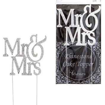 Sparkling Rhinestone Cake Topper - Mr. and Mrs. Capital
