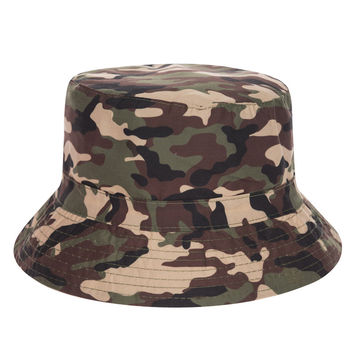 Camouflage Adult Unisex Brown Beige Black & Green Casual Summer Beach Camo Flat Bucket Hat