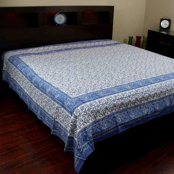 Handmade Cotton Rajasthan Block Print Tapestry Throw Tablecloth Coverlet Twin & Full