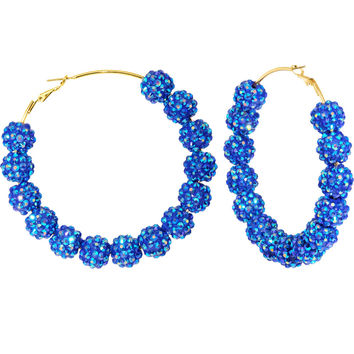 3 Inch Sapphire Blue Sparkle Ball Hoop Earrings