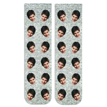 Personalized Face Socks Custom Printed on Cotton Crew Socks