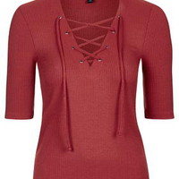 Tie Front Top - Red