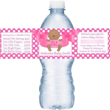 21 Its A Girl Baby Shower Water Bottle Labels Dark Skin Baby