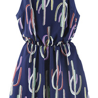Navy Blue Sleeveless Cactus Printed Chiffon Dress