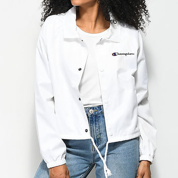 Champion Crop White Coaches Jacket | Zumiez