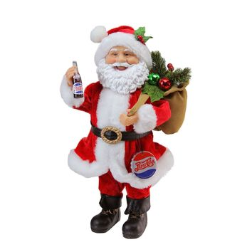 "12"" Santa Claus with Gift Sack Holding Pepsi-Cola Bottle and Cap Christmas Figure"
