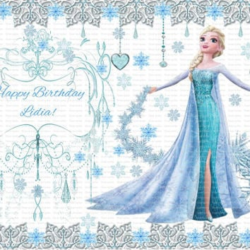 Personalized Edible Frosting Icing Fondant Sheet FROZEN ANNA Queen Elsa Personalized Custom Fresh