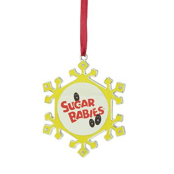 "3.5"" Silver Plated Snowflake Sugar Babies Candy Logo Christmas Ornament with European Crystals"