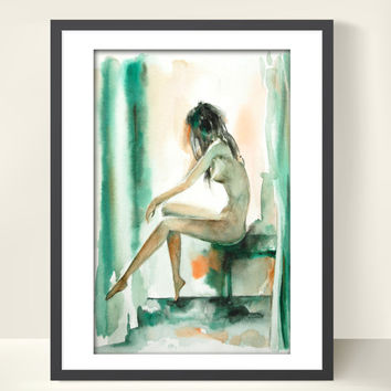 Figure Watercolor Painting Art Print, Abstract Modern Figure Art, Woman Painting