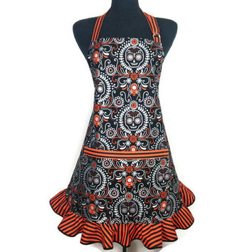 Day of the dead Apron for Women , Sugar Skulls with Orange and black stripe ruffle , Retro Kitchen Decor ,