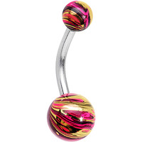 Red and Gold Swirl Ball Ends Super Simple Belly Ring | Body Candy Body Jewelry