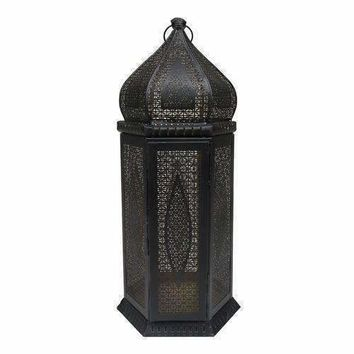"21.25"" Black and Gold Moroccan Style Cut-Out Pillar Candle Lantern"