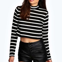 Alison Stripe Crop Turtle Neck Jumper