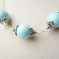 Blue Howlite Orb & Silver Flower Petal Detail Victorian Cottage Chic Necklace