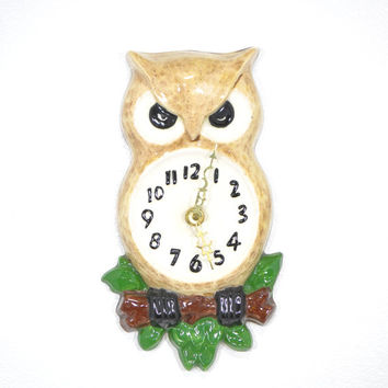 Owl Clock • Vintage Ceramic OWL Wall Clock • 1970s Owl Clock • Vintage 70s Ceramic Owl Wall Clock • Battery Operated Handmade Owl Wall Clock
