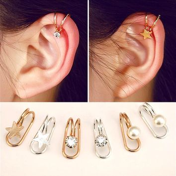 Ear Cuff U Star Moon Earring Punk Minimalist Women Silver Metal Buckle Fake Piercing Ear Clip Without Puncture Pearl Earrings