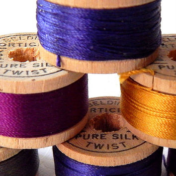 Vintage Wooden Spools With Silk Thread. Sewing Thread. Spool Of Thread. Antique Wooden Spool. Sewing Notion. Sewing Supply. Craft Room Decor