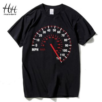 HanHent Speedometer Fashion T Shirt Men Cotton Summer Car Speed T-shirt Black Creative Design Tops Tees Fitness Clothing Brand