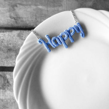 Happy Necklace Word Pendant, Happiness Inspirational Necklace Sky Blue