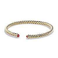 David Yurman - Petite Precious Cable Bracelet with Rubies in Gold - Saks Fifth Avenue Mobile