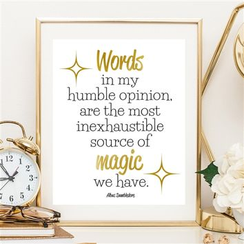 Words Are Magic - 8x10 Gold Foil Print - Spiffing Jewelry