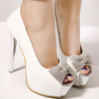 Rhinestone Bow Peep Toe Stiletto Heel Pumps