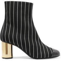 Marco De Vincenzo - Patent leather-trimmed pinstriped wool ankle boots