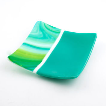 Fused Glass Dish, Candle Plate, Decorative Tray, Teal Home Decor, Square Plate, Home Accent, Catch All, Trinket Dish, Gifts for Friends