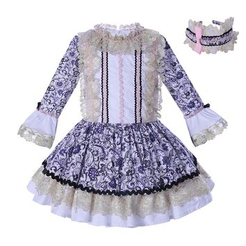 Pettigirl Girls Autumn Dress Vintage Flower Princess Dress Lace Sleeve Thanksgiving Children Party Clothing G-DMGD006-B56