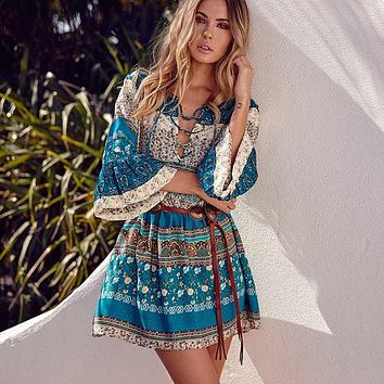 Spring NEW Boho Dress Chic Floral Print Mini Desses V-neck Hippie Women Dresses Bohemian  Casual Bohemia Brand Clothing XXL with Belt