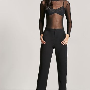 Sheer Mesh Mock Neck Bodysuit
