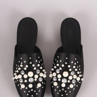 Paprika Satin Rhinestone Pearl Embellishment Slip-On Loafer Flat