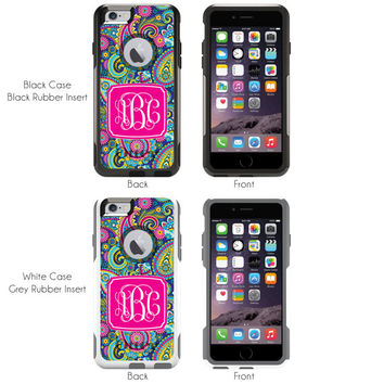 iPhone Otterbox Commuter Series Case for iPhone 5/5s, 6/6s, 6 Plus/6s Plus Monogrammed Navy Paisley Initials Personalized Phone Case 1127
