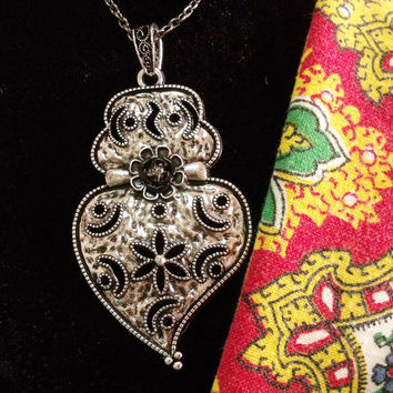 Portuguese silver Viana heart folk jewelry necklace chubby rhinestone heart pendant portugal jewelry