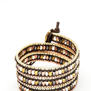 Wrap Bracelet - Black Leather Cord | Gold & Copper Chain | Metal Beads