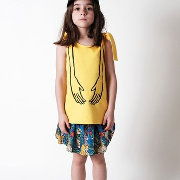 Wolf And Rita - Girls Ines Top With Hands, Yellow - 8Y