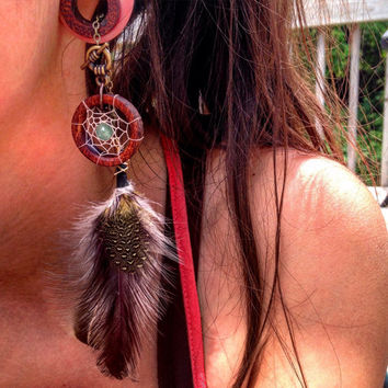 "Magnetic Bloodwood Tunnels with Dream-Catcher Dangle Chains/Sizes00g(10mm)&7/16""(11mm)Wood/Gauges/Eyelet/Flesh Tunnels/Hippie/Tribal/Wedding"