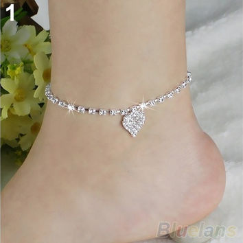 Hot Multi-pattern Love Heart Star Wedding Sandal Beach Anklet Chain Foot Jewelry BW2C (Color: Silver) [7982965639]