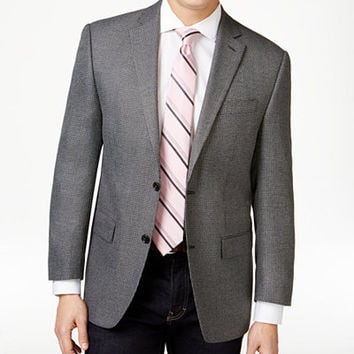 MICHAEL Michael Kors Men's Grey and Black Herringbone Classic-Fit Sport Coat - Blazers & Sport Coats - Men - Macy's