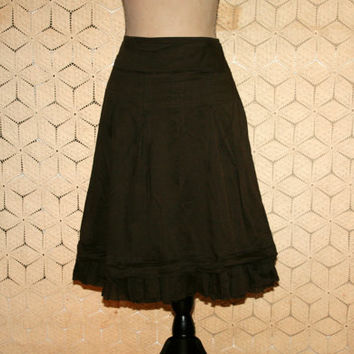 Brown Skirt Cotton Skirt Casual Skirt Ruffle Boho Skirt Cowgirl Chic Aline A Line Drop Waist Skirt Ann Taylor Medium Skirt Womens Clothing