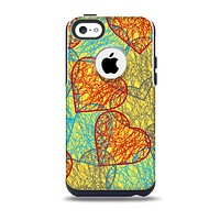 The Squiggly Red & Blue Hearts Over Yellow Skin for the iPhone 5c OtterBox Commuter Case