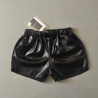 Stretch PU Leather Casual Permeable Shorts [6048826177]