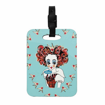"""Zara Martina Mansen """"Off With Her Head"""" Red Teal Decorative Luggage Tag"""