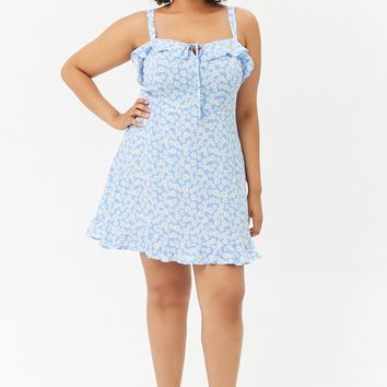 Plus Size Flounce Daisy Print Dress