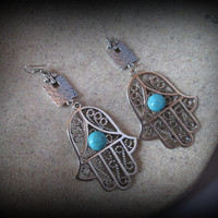 Bohemian earring,hamsa jewelry,turkish jewelry,tribal jewelry,big ethnic earring-gypsy earring-ethnic earring-boho earring-turquoise earring