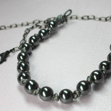 Hematite Knotted Necklace, Modern Mens Necklace, Beaded Leather Necklace for Man