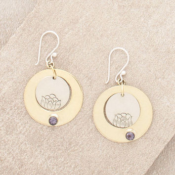 Iolite Lotus Earrings