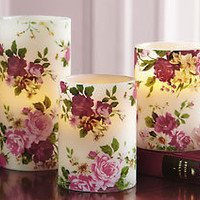 Set Of 3 Rose Pattern Flameless Pillar Candles
